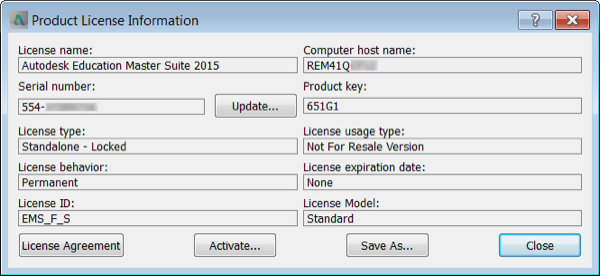 Image showing license information for Autodesk Education Master Suite 2015