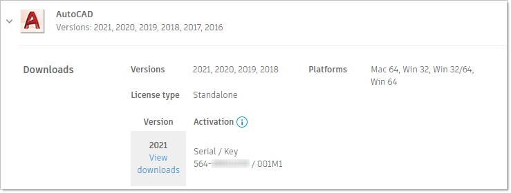 Image from Autodesk Account showing license type and software access