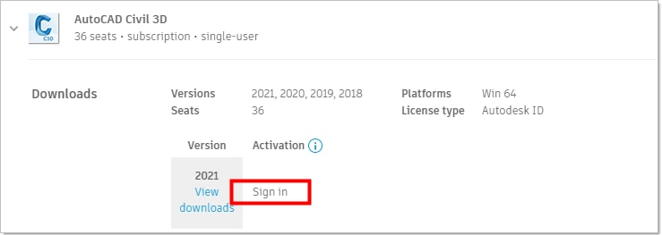 Image from Autodesk Account showing simple sign in and number of subscriptions.