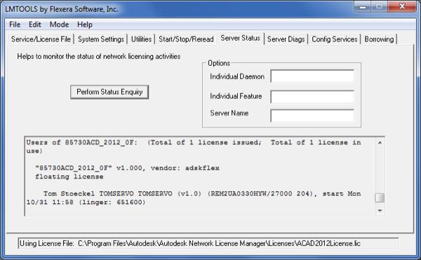 Server status window showing borrowed licenses