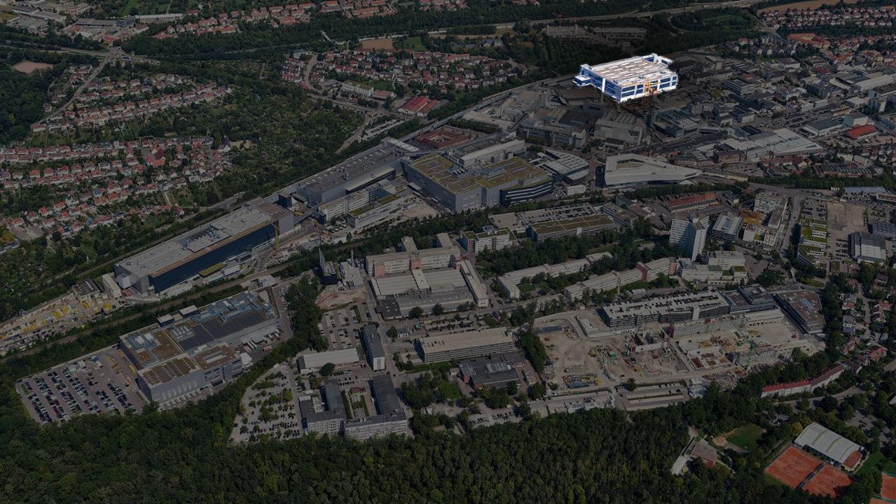 Das Porsche-Werk in Stuttgart/Zuffenhausen: Im markierten Bereich steht nun die neue Taycan-Fabrik. Der komplette Werkplan existiert außerdem digital in Autodesk 3ds Max. Credit: Porsche AG