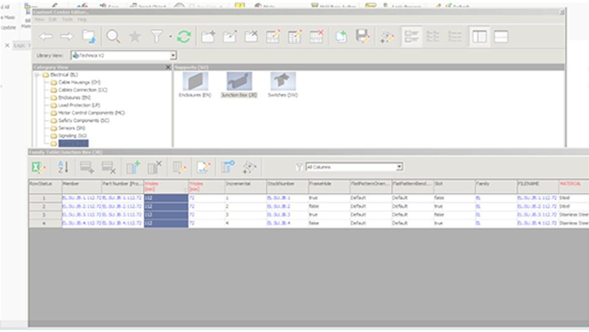 Детали из Content Center, которые задействованы в модуле iLogic для параметрического конфигурирования изделия; для новых деталей автоматически генерируются артикулы. Изображение предоставлено Technica International
