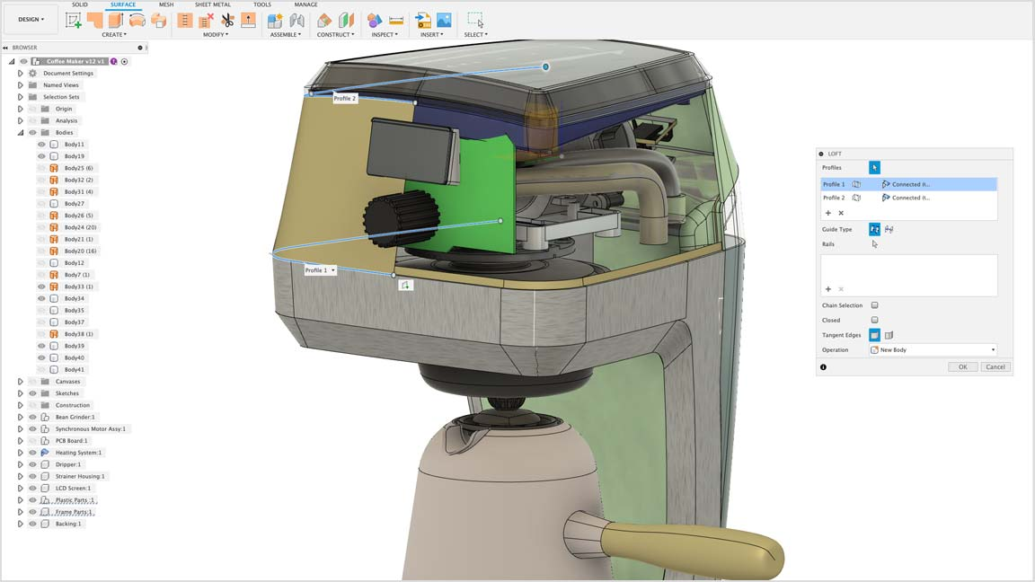Surface modeling with Fusion 360