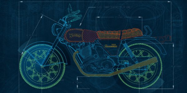 2D drawing of motorcycle