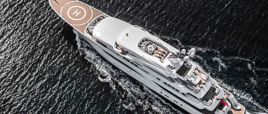 Overhead view of Areti Yacht