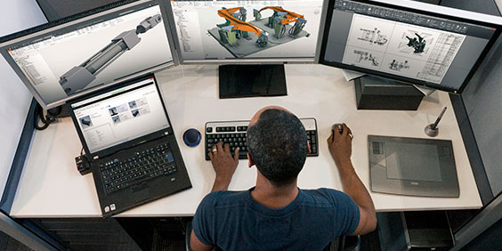 Developer working with Autodesk Inventor Professional and AutoCAD Mechanical software