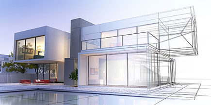3D rendering of a luxurious home with contrasting realistic rendering and wireframe.