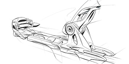 Ski binding rendering created with Alias