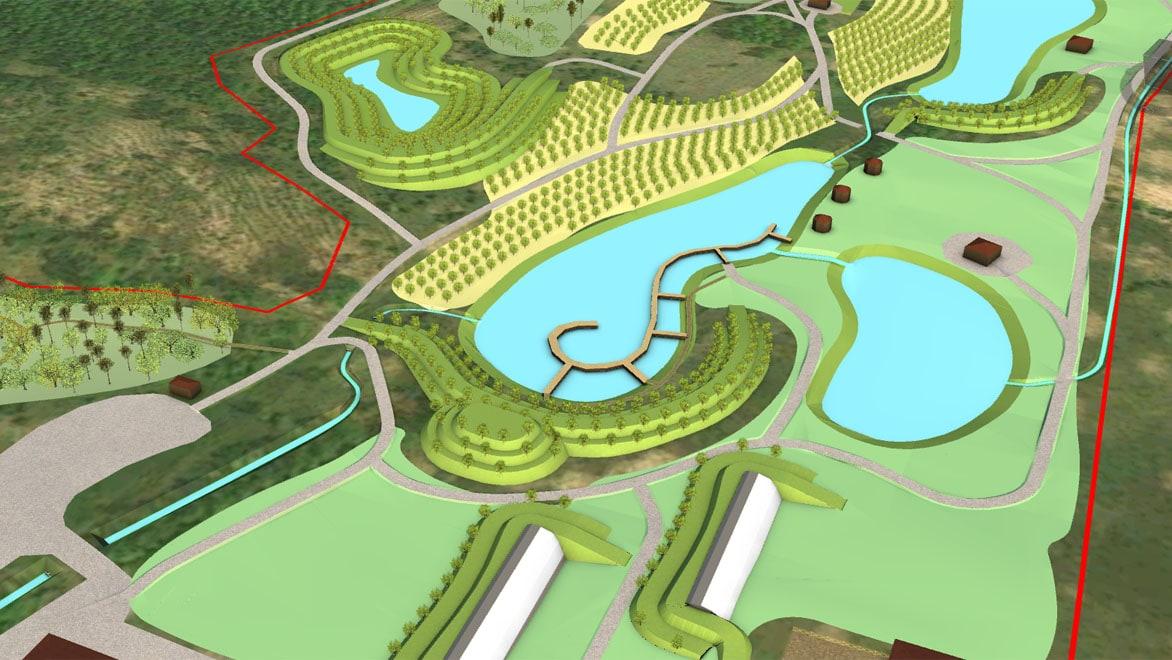 Генеральный план участка, выполненный в Autodesk InfraWorks. Изображение предоставлено бюро «Землематика»