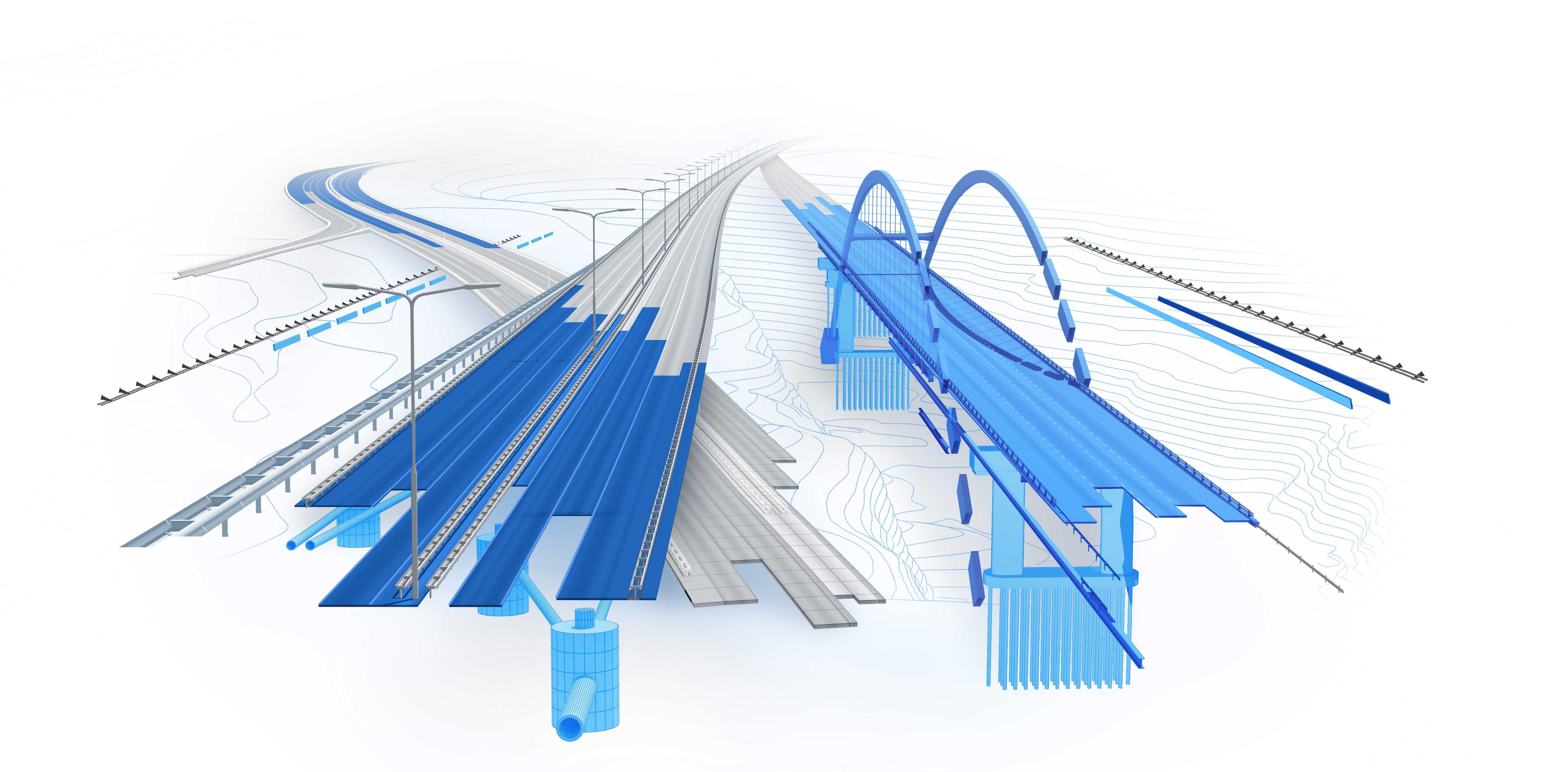 橋や道路の土木インフラ設計の 3D イメージ
