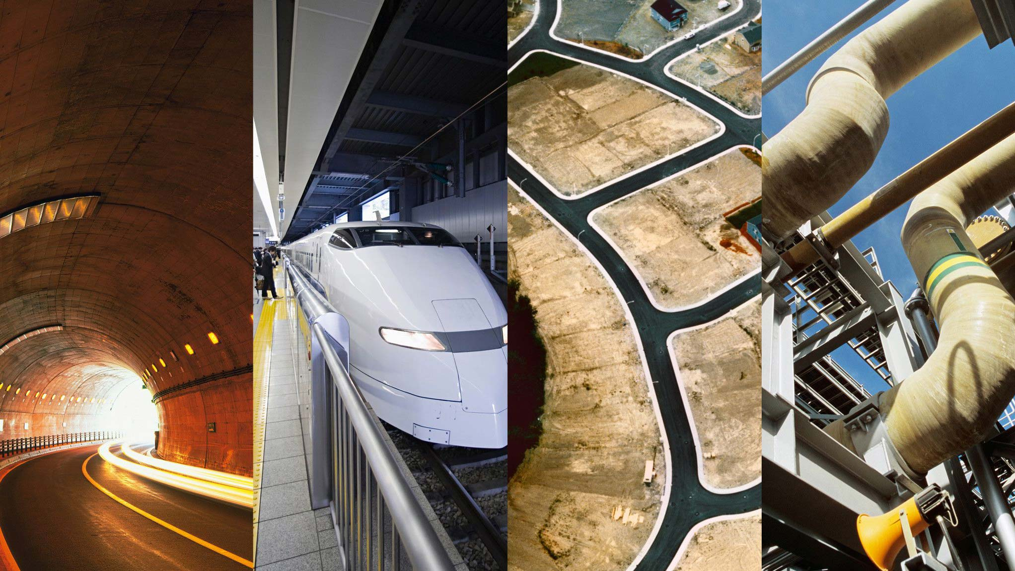 トンネルや新幹線、道路工事や配管などの設備のコラージュ