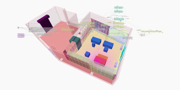 script in Dynamo with the building contour and store design visually in the background