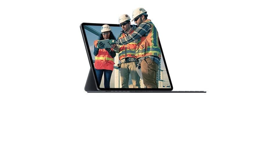 image of device with construction workers