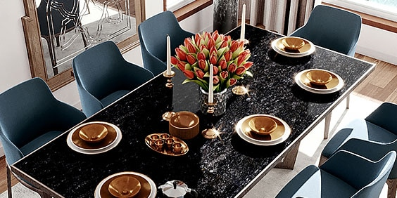 Renderización de interiores de una mesa de comedor
