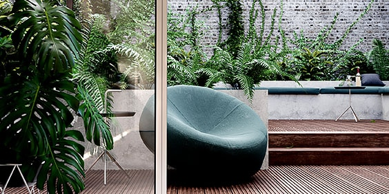 3D rendering of chair on patio with plants