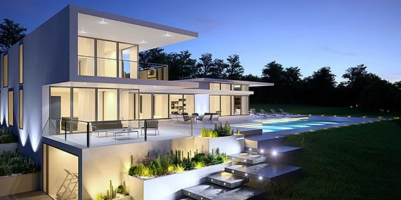 3ds max rendering of modern house design