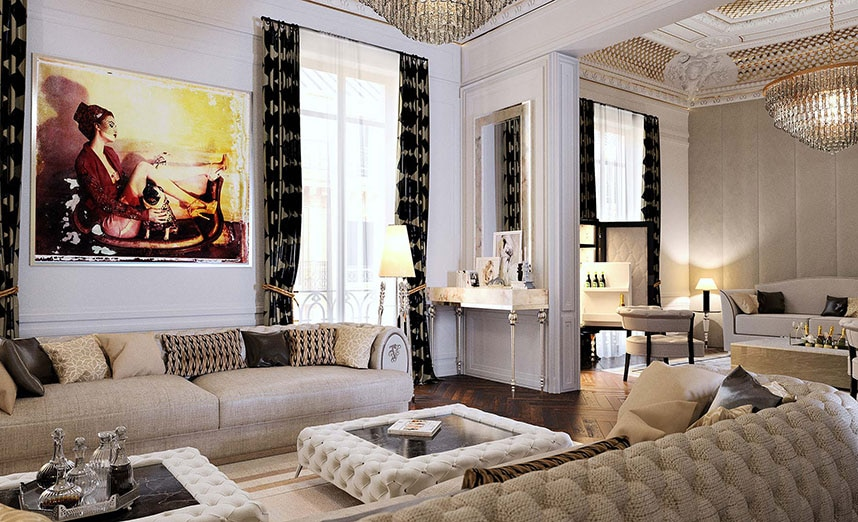 Interior rendering of luxurious sitting room