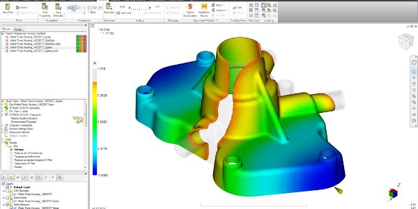 Autodesk Moldflow software interface showing plastic injection and compression mold simulation