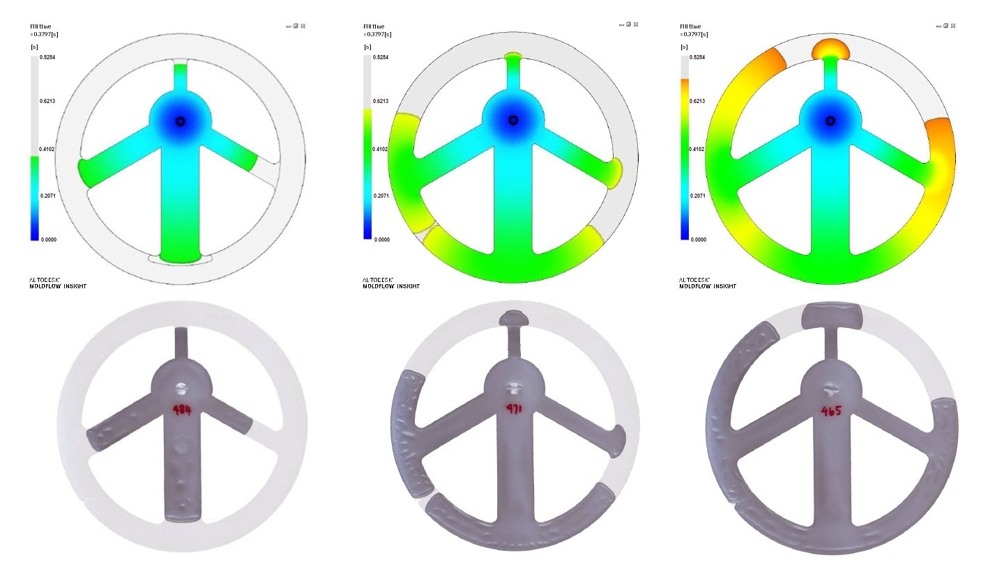 Image comparing short shot progression of molded plastic parts with Moldflow simulation