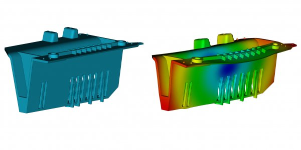 Image showing plastic part CAD compared to Moldflow simulated warped shape
