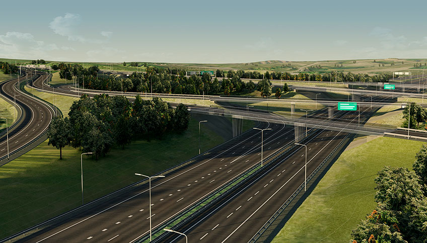 Rendering of a highway intersection illustrating the design capabilities of AutoCAD software