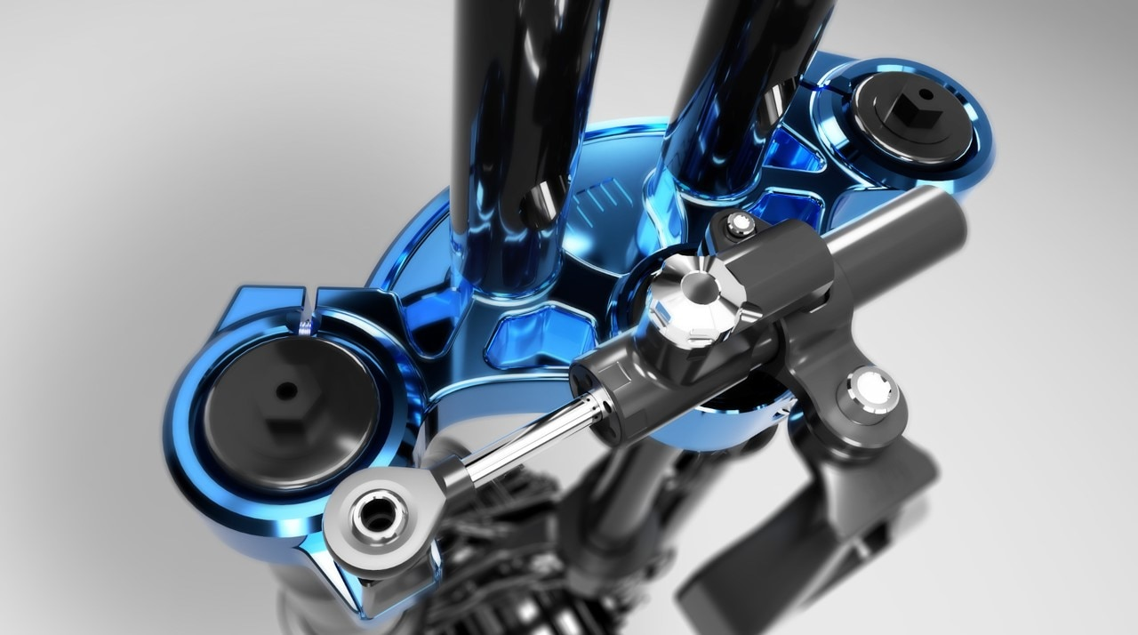Generative design optimizes CNC machined tripple clamps for a motorcycle