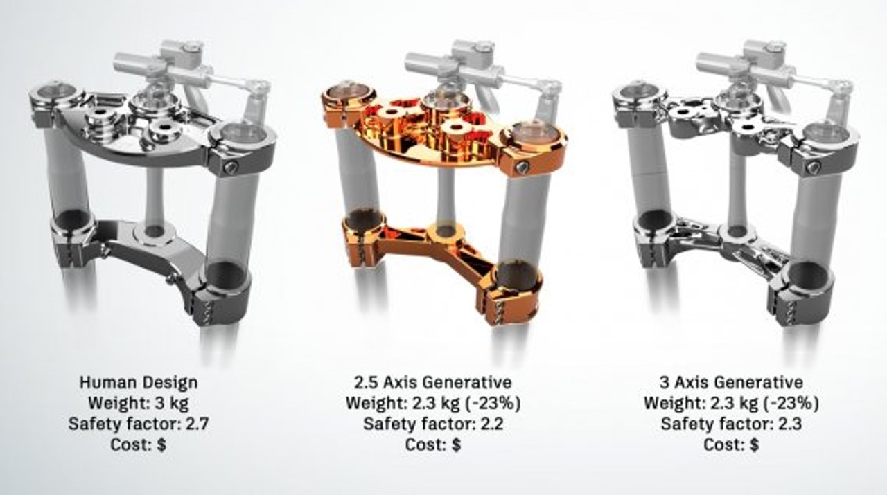 Compare human design with generative design for 2.5 axis and 3 axis machining