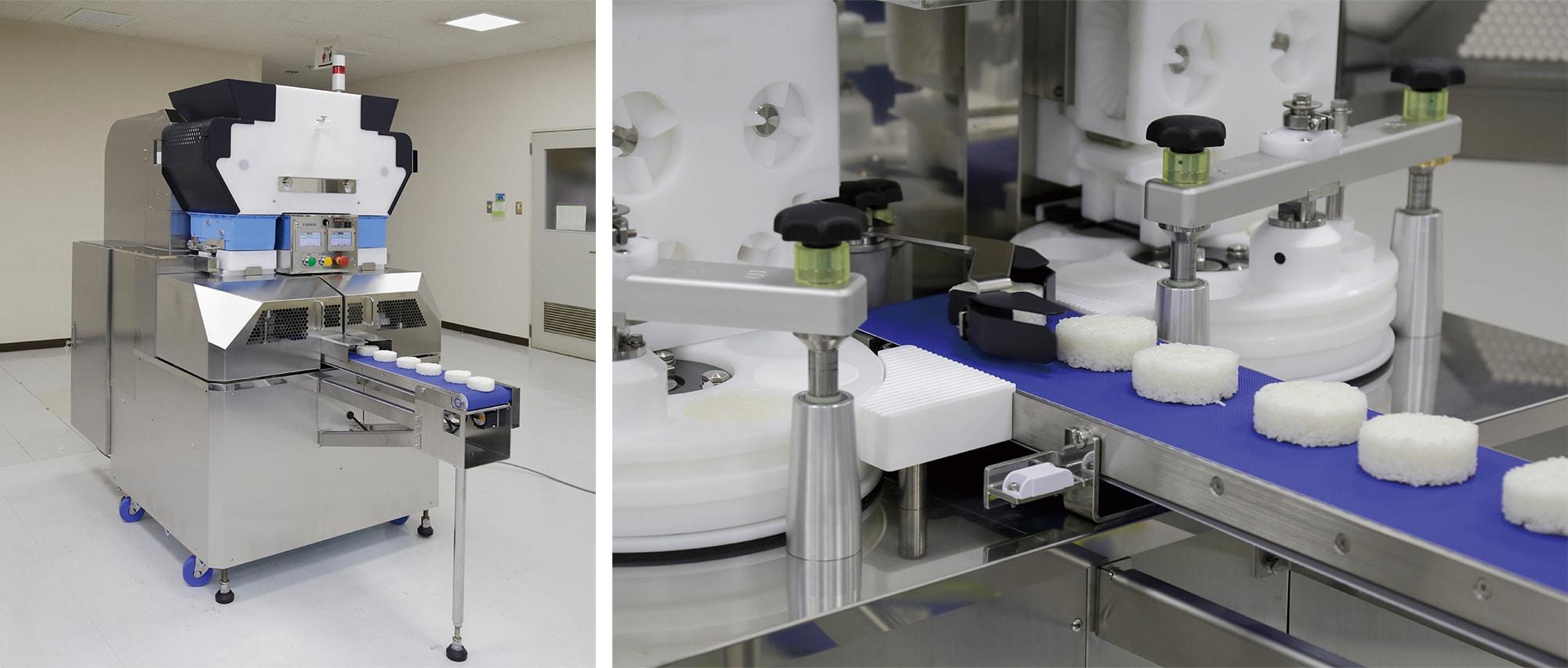 おにぎりを製造する不二精機の小型成形機。1 時間に最大 7000 個製造する能力を持ち、コンビニエンスチェーンの食品工場などで 利用されている。