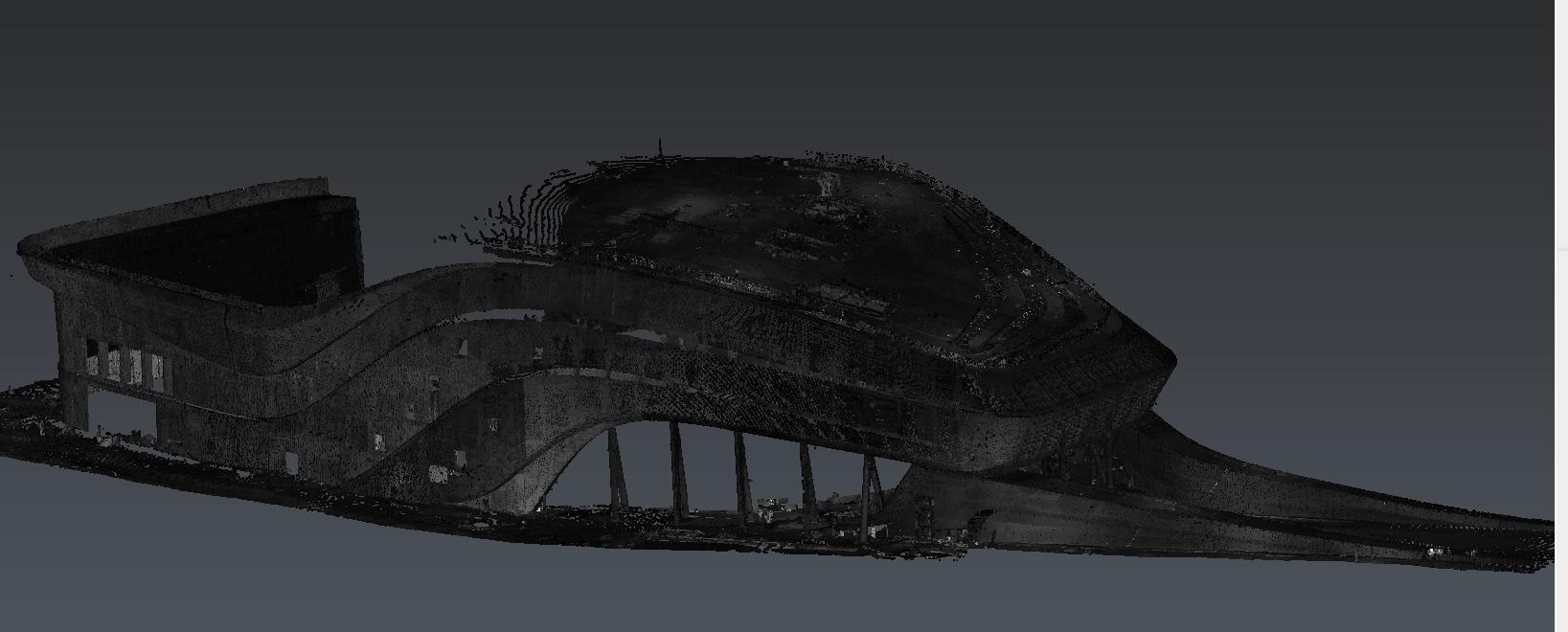 Fichier nuage de points lors du relevé Scan 3D du chantier (2017). Zaha Hadid Architecte. Groupe OGER INTERNATIONAL (AMO)