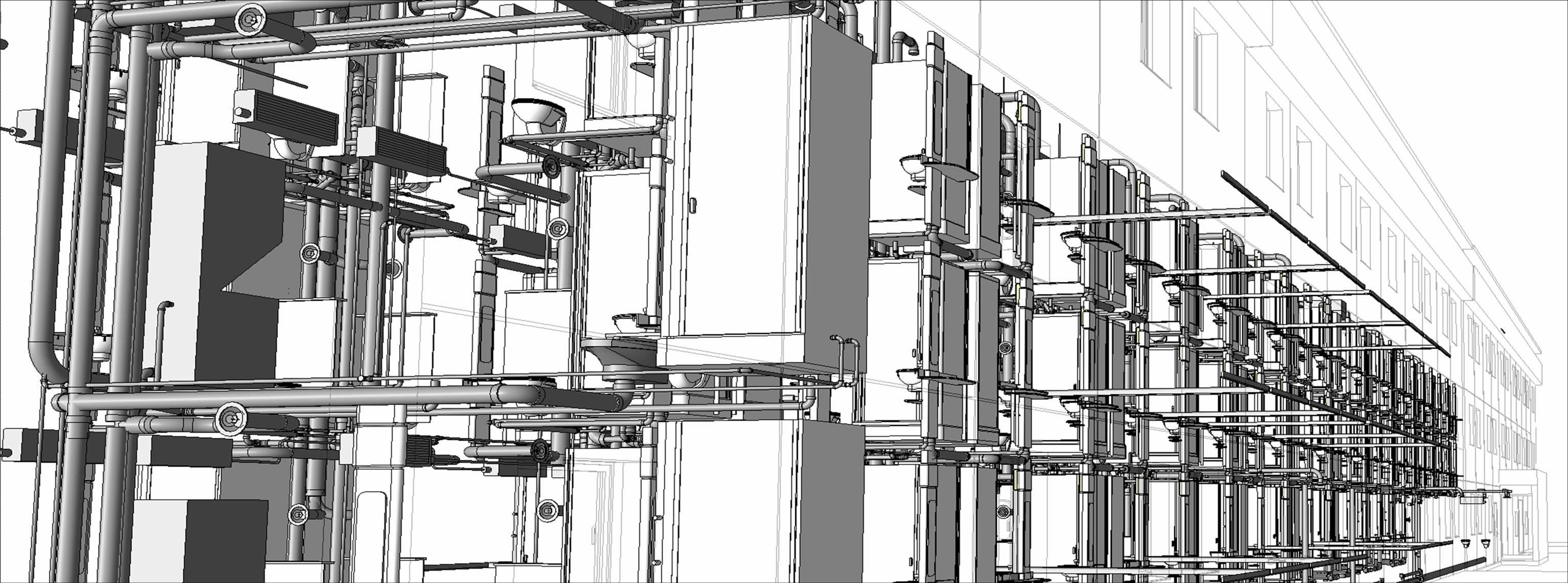 Vue sur les réseaux de plomberie et de climatisation pour la standardisation d'une chaîne hôtelière (2010). Groupe OGER INTERNATIONAL (MOT)