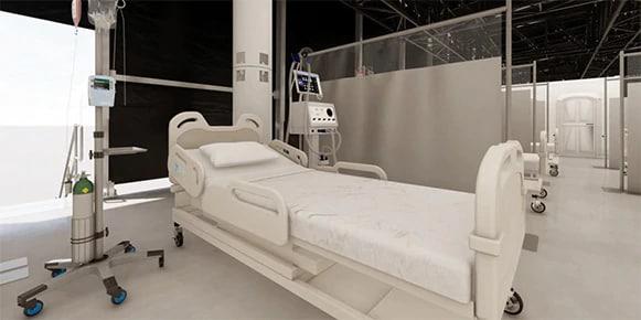 Återgivande av en medicinsk anläggning fokuserad på en sjukhussäng
