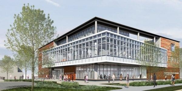 Renderização arquitetônica do exterior de uma edificação