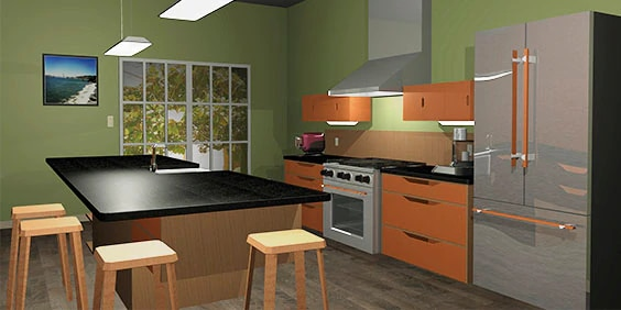 Kitchen interior designed, modelled and rendered using AutoCAD