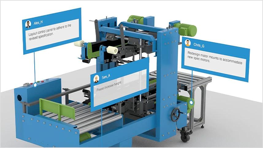Modello di macchina industriale con annotazioni inserite dai collaboratori.