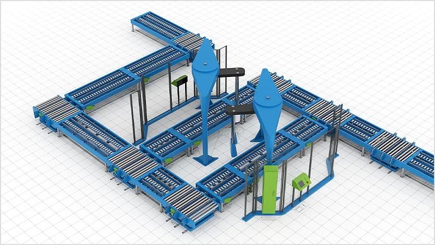Layout di una fabbrica 2D con modelli 3D di macchinari e attrezzature industriali.