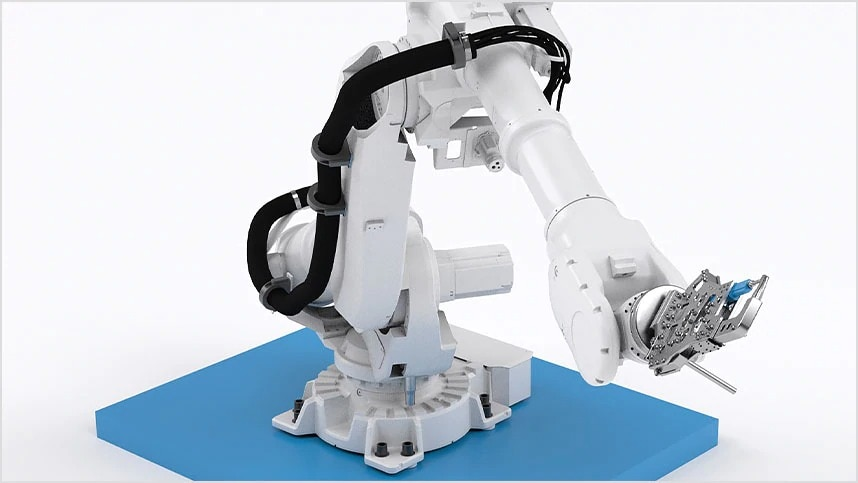 Braccio robotico per la produzione di macchinari e attrezzature industriali.