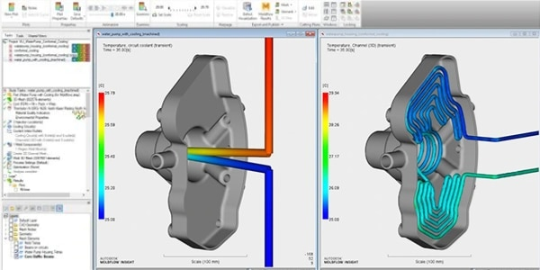 Image of simulation Moldflow comparing traditional and conformal cooling
