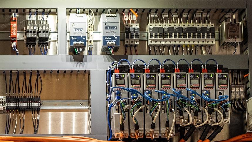 Full control panel for ice cream sandwich filler machine.