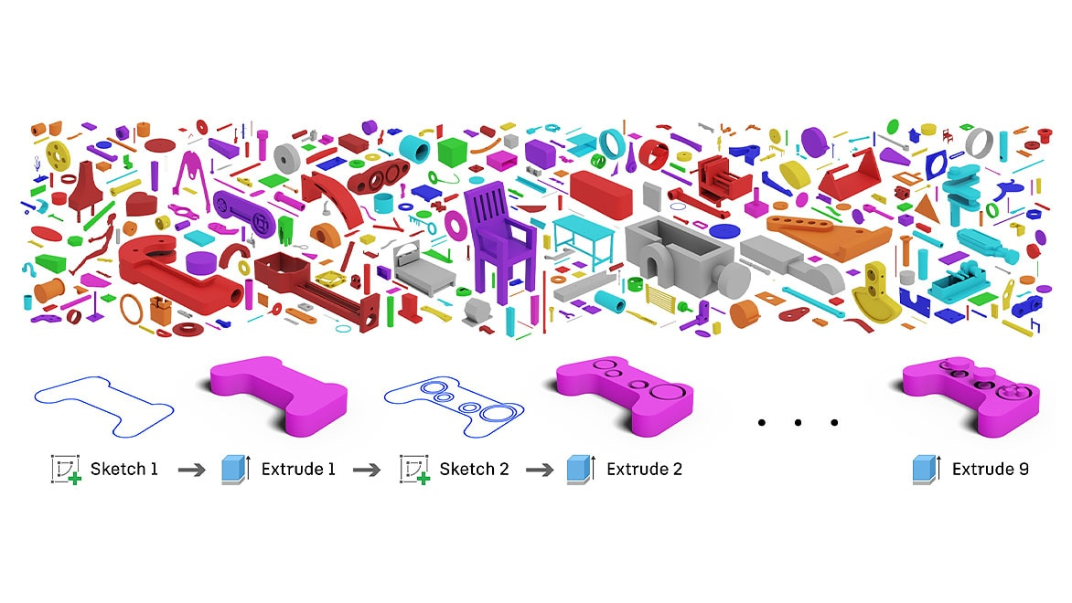 An animated workflow with sketch and extrude modeling and multi-colored 3D objects