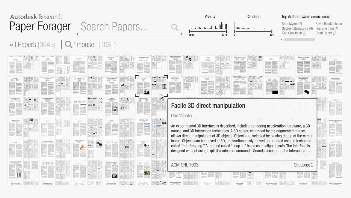 Search display for Paper Forager including papers, collections, and documents within its database