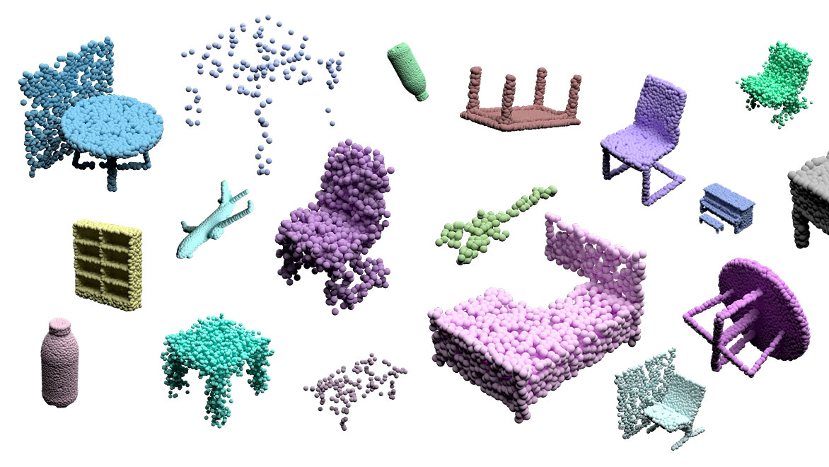 3D point cloud rendering of tables, chairs, beds, bottles, and other objects used by humans