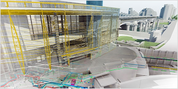 A rendered side view of a construction building with yellow scaffolding surrounded by a bridge, roads, and other buildings