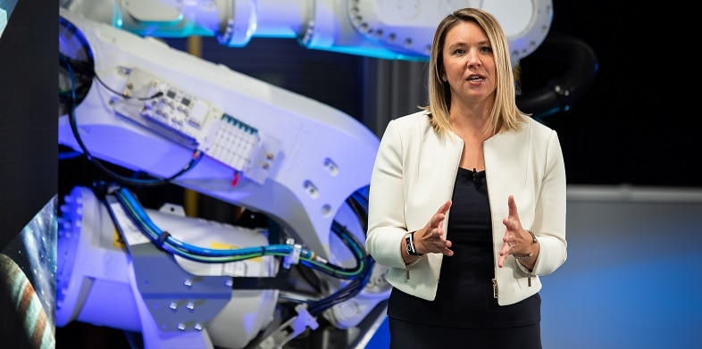 Autodesk Vice President Sarah Hodges presents at the media and entertainment keynote at Autodesk University