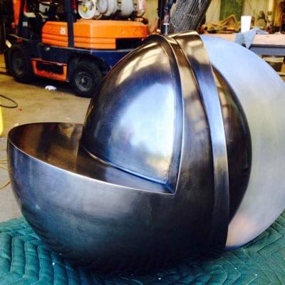 Spun Steel and Waterjet Cut Sculpture by Albert DiCruttalo