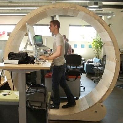 Hamster Wheel Standing Desk by Robb Godshaw