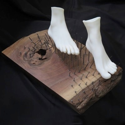 The Improbable Mystic (3D printing feet displayed on a bed of nails) by Stef Lenk