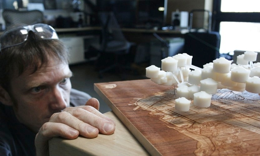 """""""Water Works: 3D prints of the San Francisco Water System with Map"""" by Scott Kildall"""