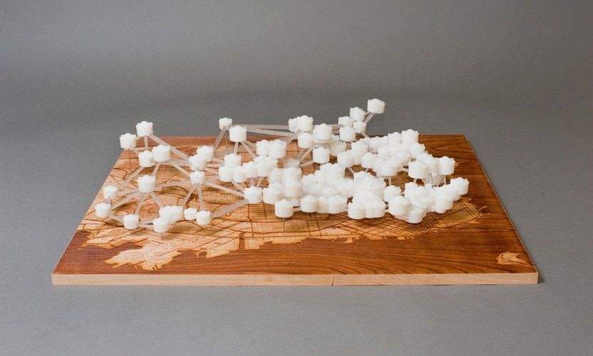 """Water Works: 3D prints of the San Francisco Water System with Map"" by Scott Kildall"