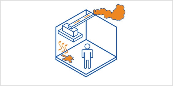 Diagram of a person in a room observing an evaporation and venting flow.