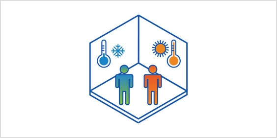 Diagram of two people in a room with indoor and outdoor room temperature control.